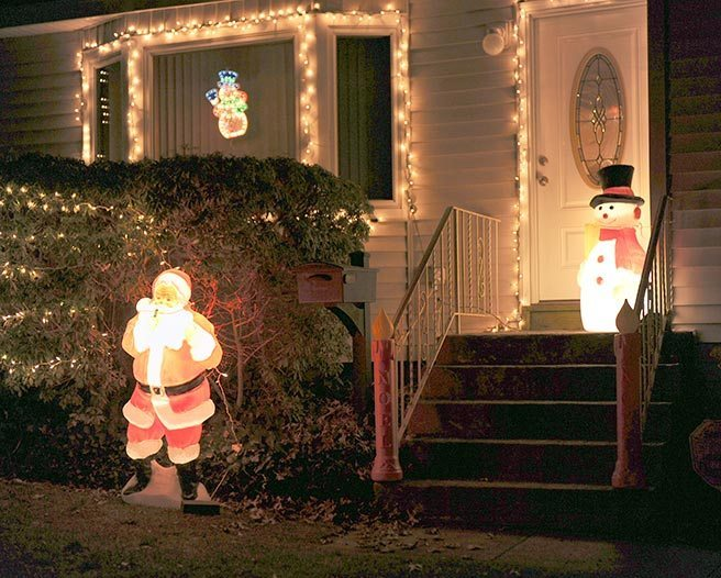 Santa Claus and Frosty the Snowman greet visitors at this Hillside Avenue residence.