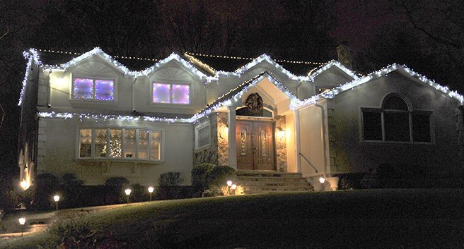 A house on 20 Maple St. also has a large display.