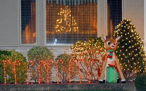 A reindeer and a Christmas light up this Roslyn residence.