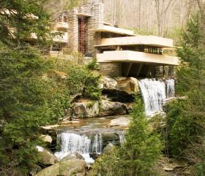 Architect Frank Lloyd Wright's iconic design, Fallingwater in Mill Run, Penn.