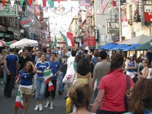 Residents of Little Italy celebrating the Italian national team's victory in the 2006 World Cup