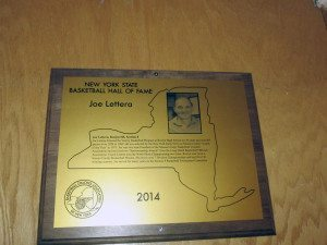 Joe Lettera's New York State Basketball Hall of Fame plaque