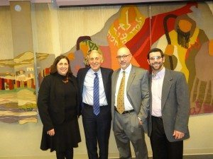 From left: Ronna Niederman, Chair of Temple Sinai's Adult Education committee, Fingerhut, Rabbi Michael White, and David Newman, Executive Director of the Jewish Community Relations Council
