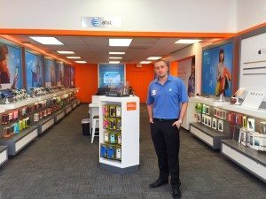 Store Manager Christian Rivera at the AT&T store in Albertson