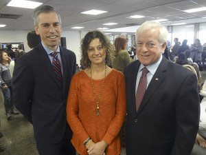 From left: Syosset Superintendent of Schools Dr. Thomas Rogers, Syosset Council PTA President Theresa Gordon, Assemblyman Charles Lavine