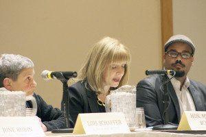 From left: Lois Schaffer, Michelle Schimel and Aaron Watkins-Lopez, moderator.