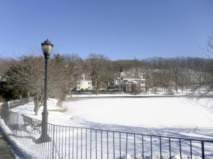 The Duck Pond facing the Valentine House and Roslyn Presbyterian