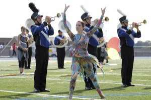 Members of the Roslyn High School Marching Band in performance