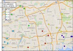 A map of spots hit by tire and rim robberies. Photo courtesy of NCPD
