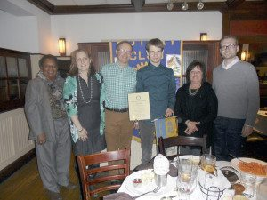 From left: Rotary Copresident Cathy Mealing, parents Jane Hodge and George Cox, Trevor Cox, Rotary Co-President Deborah Zenir and guidance counselor, Bill Caruso