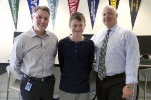 From left: Guidance counselor Jason Geller, Rosen and Principal Dr. Scott Andrews.