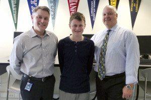 From left: Guidance counselor Jason Geller, Rosen and Principal Dr. Scott Andrews.